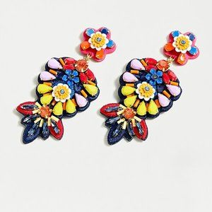 J Crew Embroidered floral leather-backed earrings